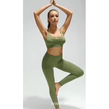 Women 2 Piece Set Hollow Out Yoga Suit
